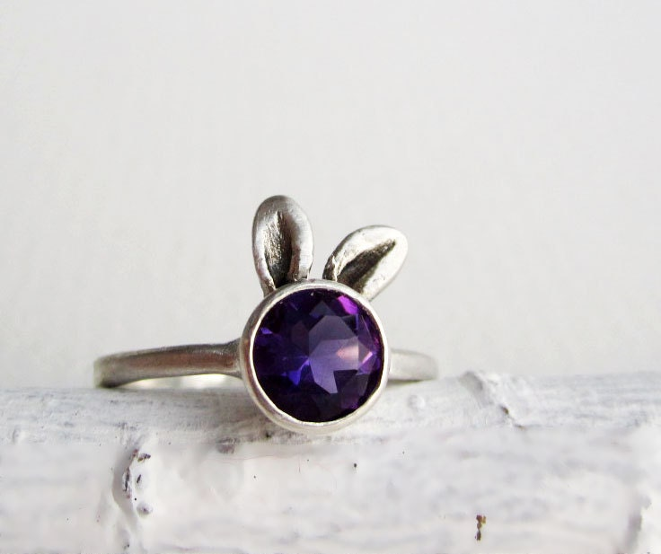 Purple Bunny Ring, Amethyst Sterling Sliver Ring - EveryBearJewel