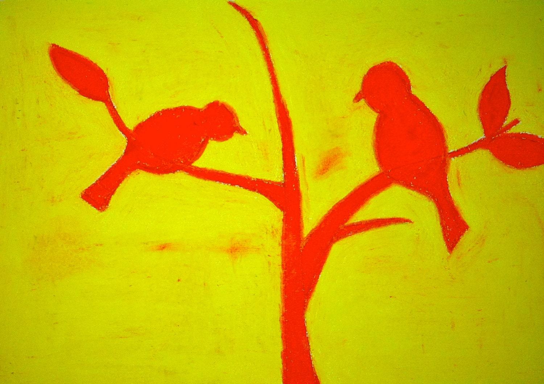 18x14 Wrapped Canvas Pink and Yellow Bird Art - PenningtonArt