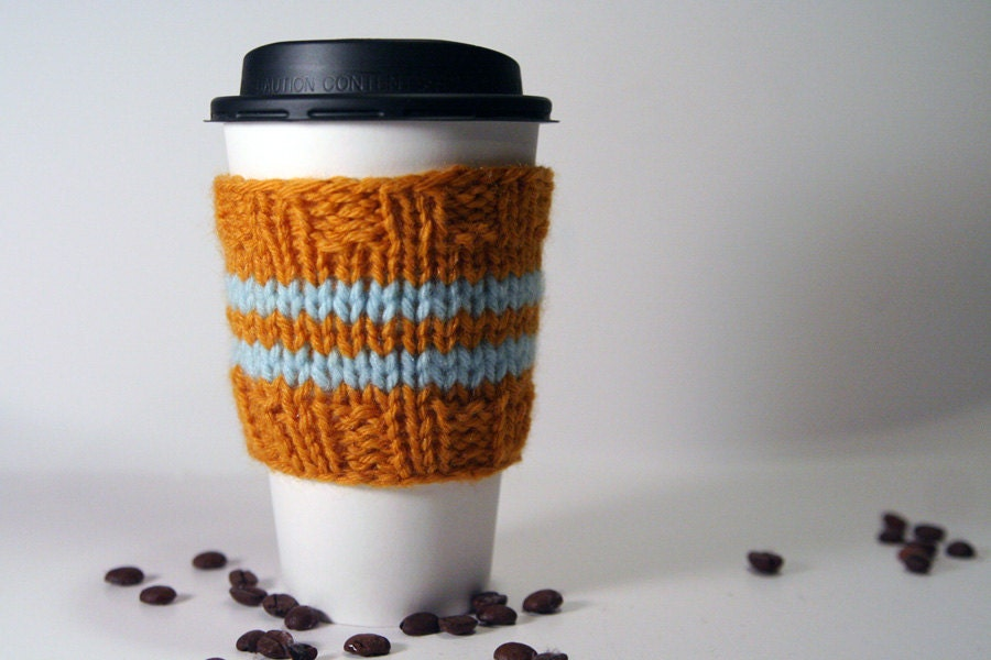 Classic Coffee Cozy - Gold & Light Blue