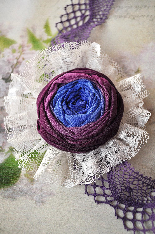 Vintage Romance Neclace-Bracelet -- shabby chic -- purple blue rosette -- purple linen lace