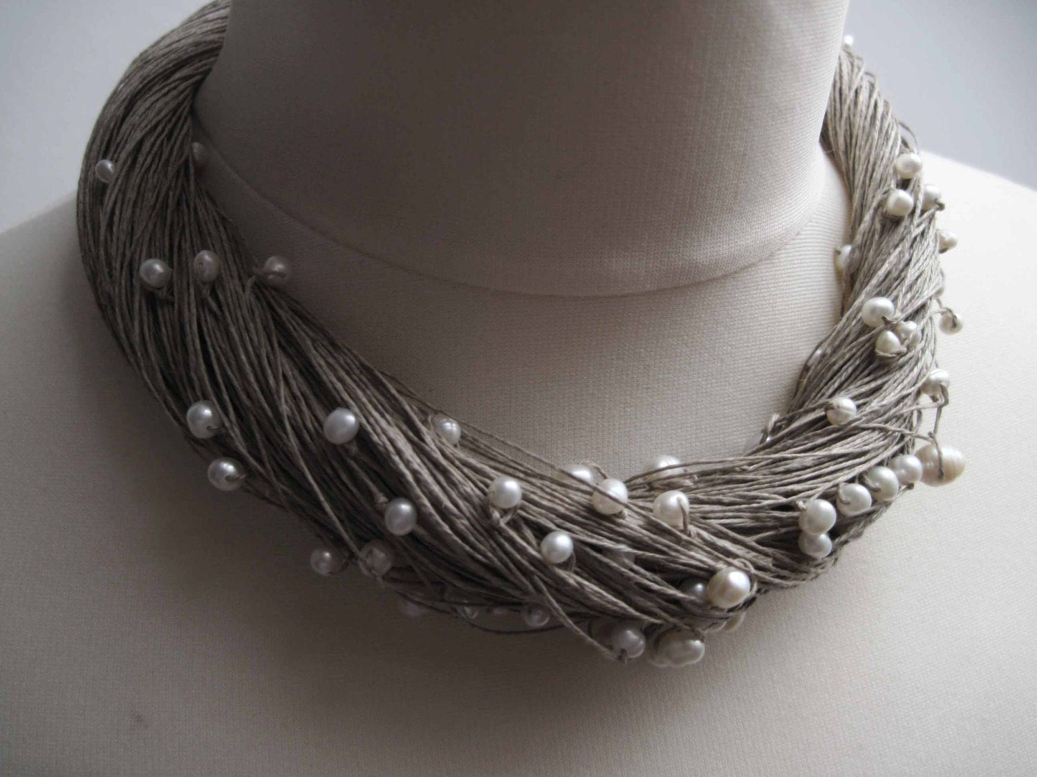 Multi Strand Pearl Necklace Linen Statement Wedding Necklace White Gray Natural - DreamsFactory