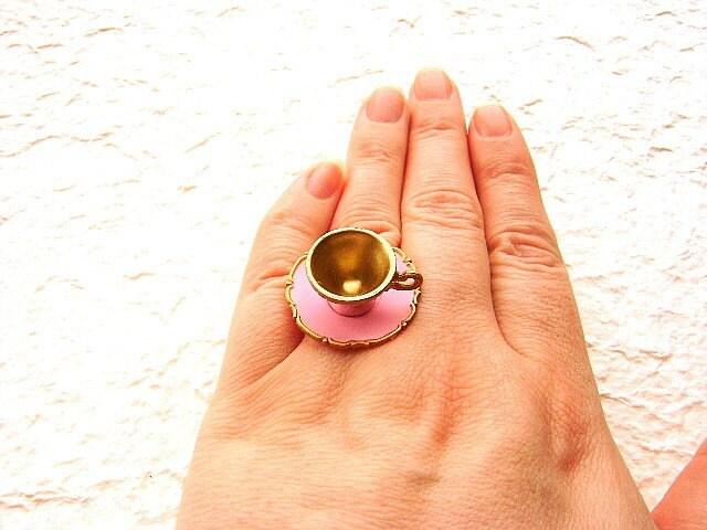 Kawaii Симпатичные японские кольцо-розовый Чашка с блюдцем