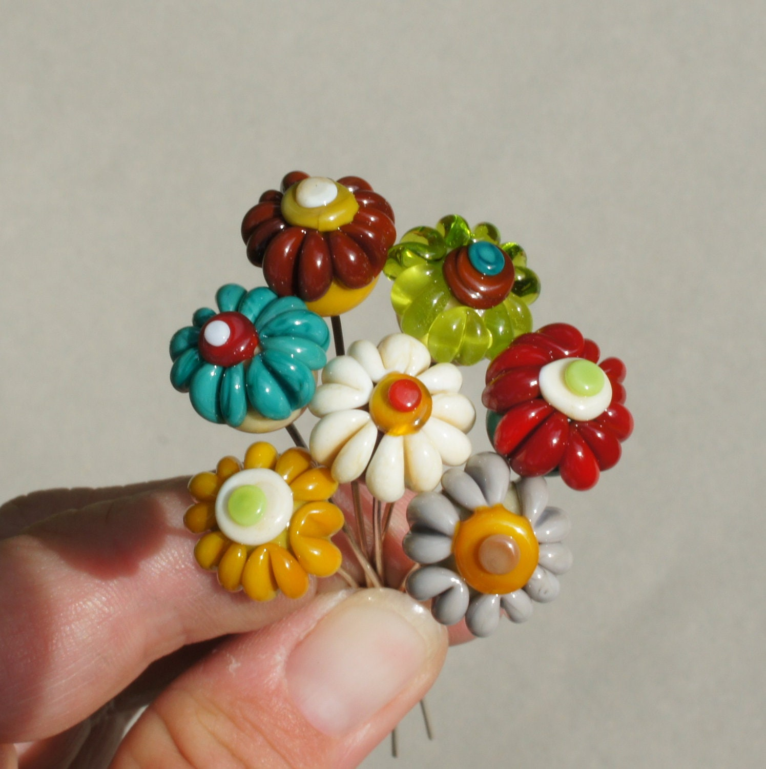 Handmade lampwork glass flower headpins in autumn colors by Flamejewels - FlameJewels