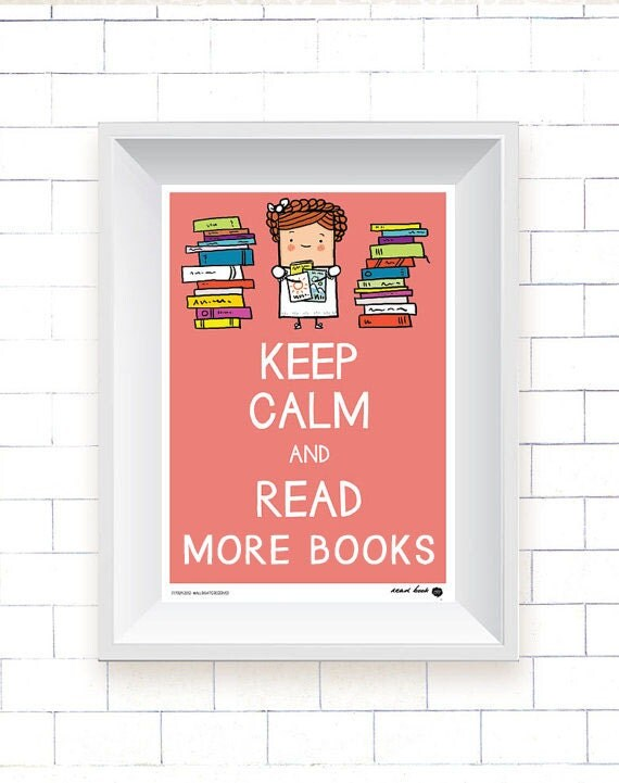 Keep Calm and Read More Books Girlie Poster, Kutukafa Collection (wall art, room picture, girl, keep calm, digital print, book, reading)