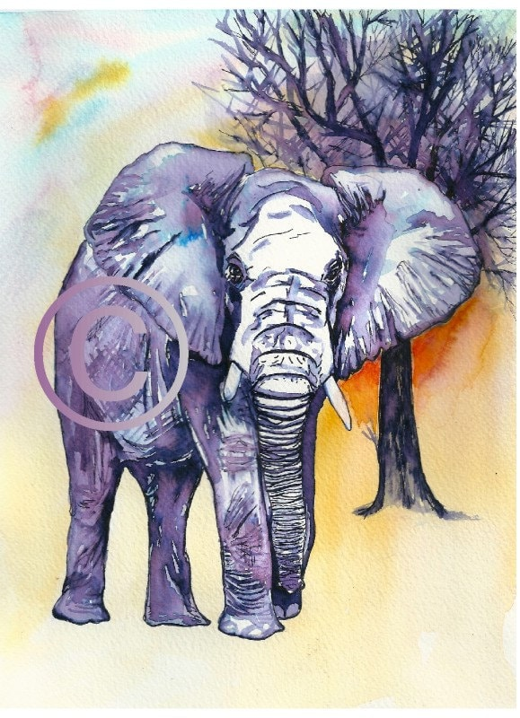 Art print of my original illustration-Elephant   STATTEAM - PetsandAnimals
