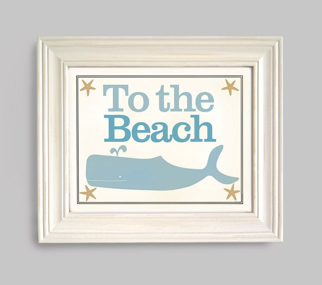 Beach Home Decor Art Print Whale