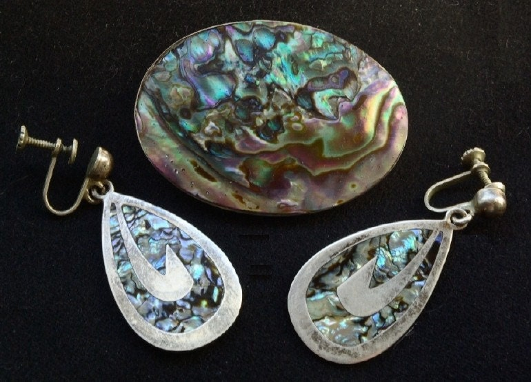 Taxco Mexican silver brooch and earring set, 1950s - kickshaw