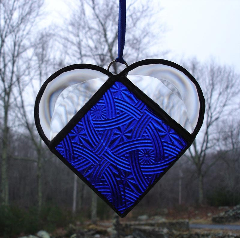 Blue stained glass heart, Valentine's day gift