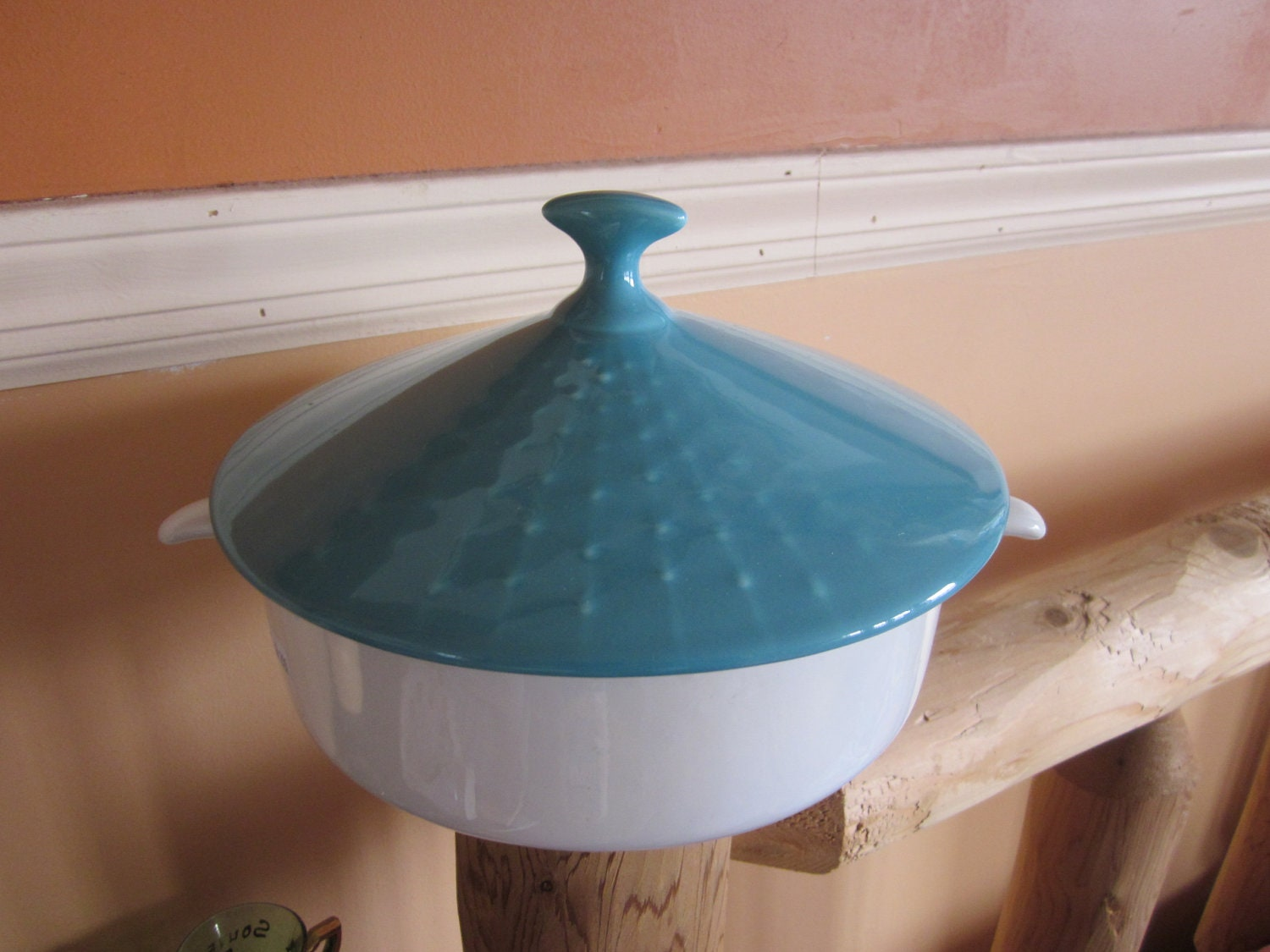 turquoise casserole, mid century modern, covered casserole, - diddle47