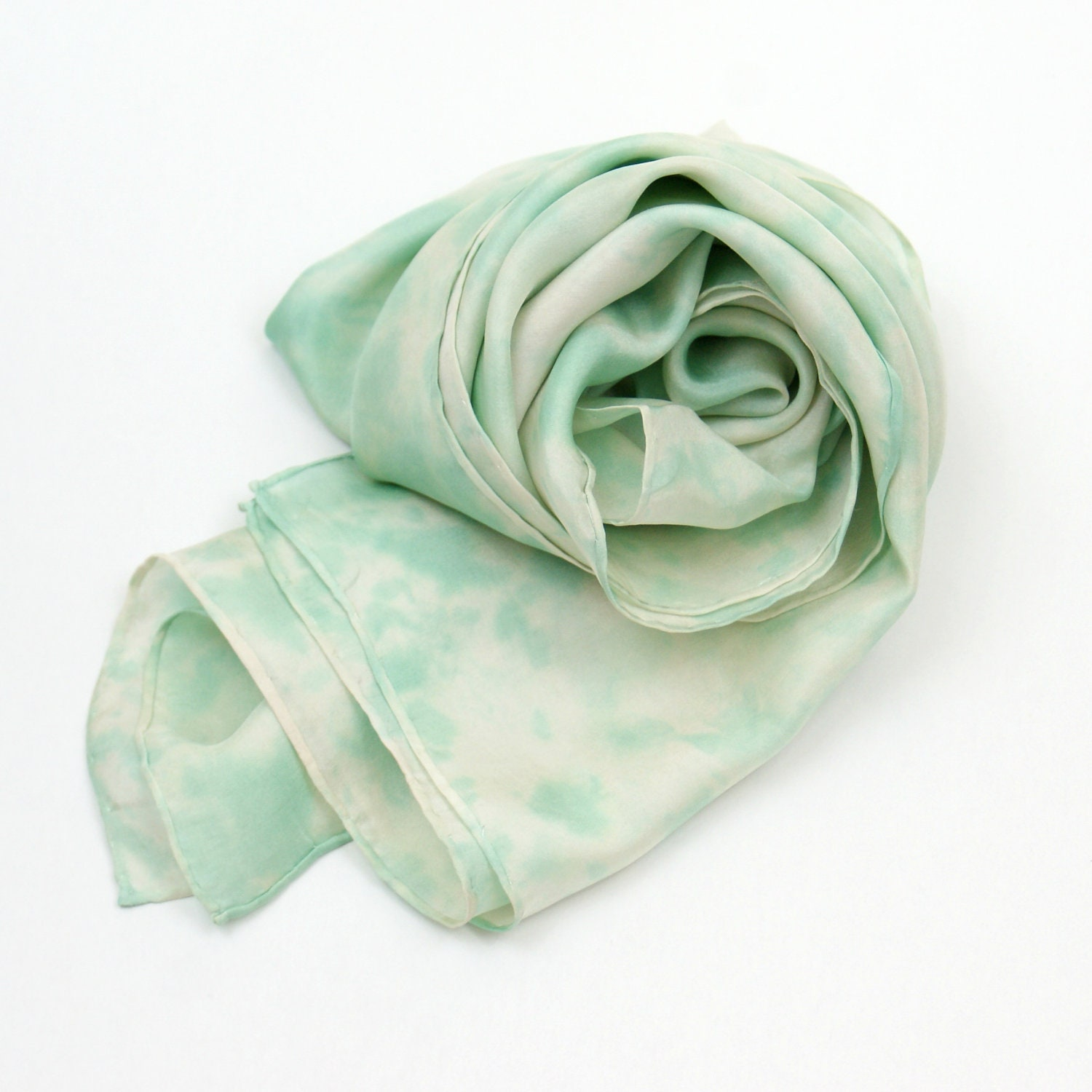Green and Tan Silk Scarf, Hand Painted Scarf, 14 x 70 inches - KMSilks
