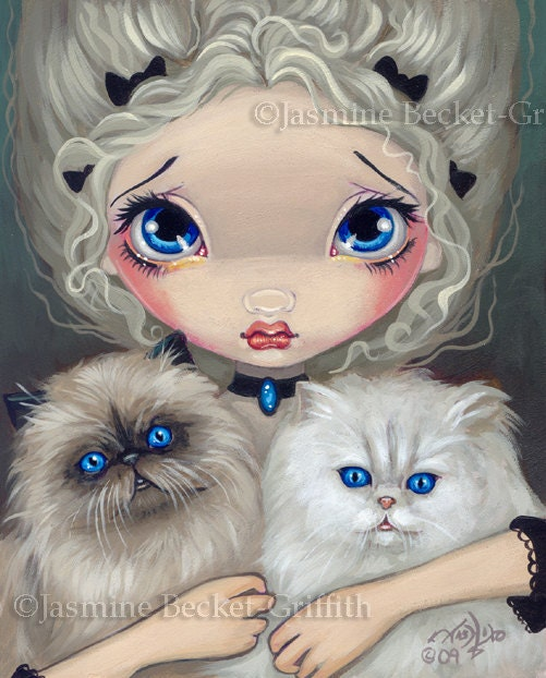 Two Fluffy Kitties cats fairy art print by Jasmine Becket-Griffith 8x10