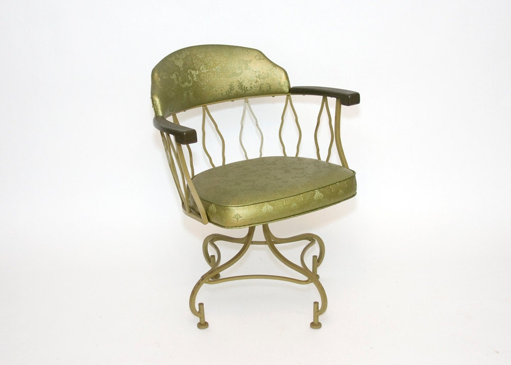 Four Swivel Arm Chairs -Olive Green, Hollywood Regency, Vintage