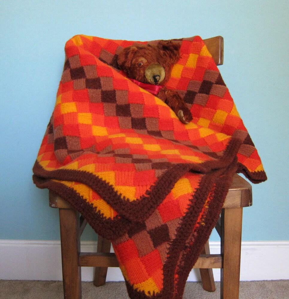 Wool Crochet Afghan Throw Orange and Brown Vintage 1970's