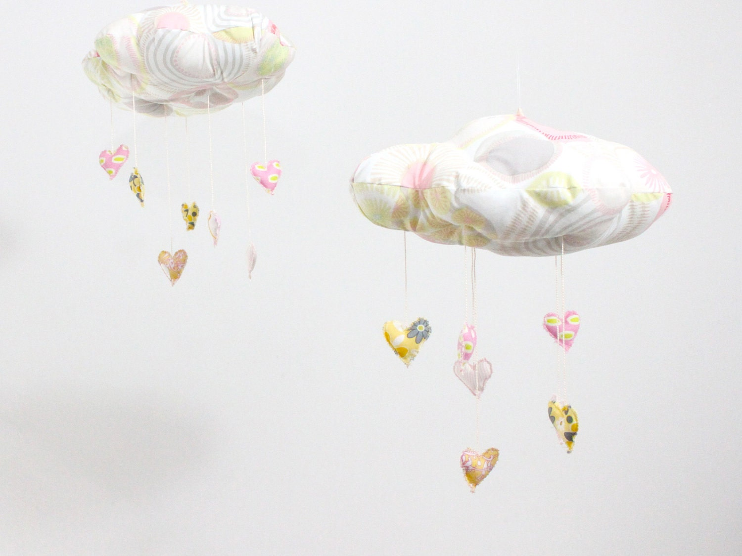 My Sweet Heart Cloud Mobile - LAST ONE in limited edition fabric sculpture decoration for nursery in pink, grey,white and lemon yellow