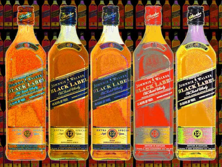 JOHNNY WALKER Black Scotch -  Large 20 x 15 Pop Art Giclee Poster -  FREE Shipping