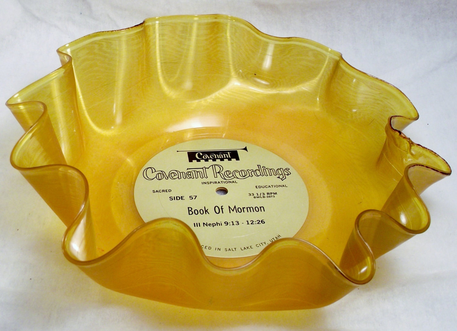 Orange/ Yellow Record Bowls are wonderful decorations for your house and more.