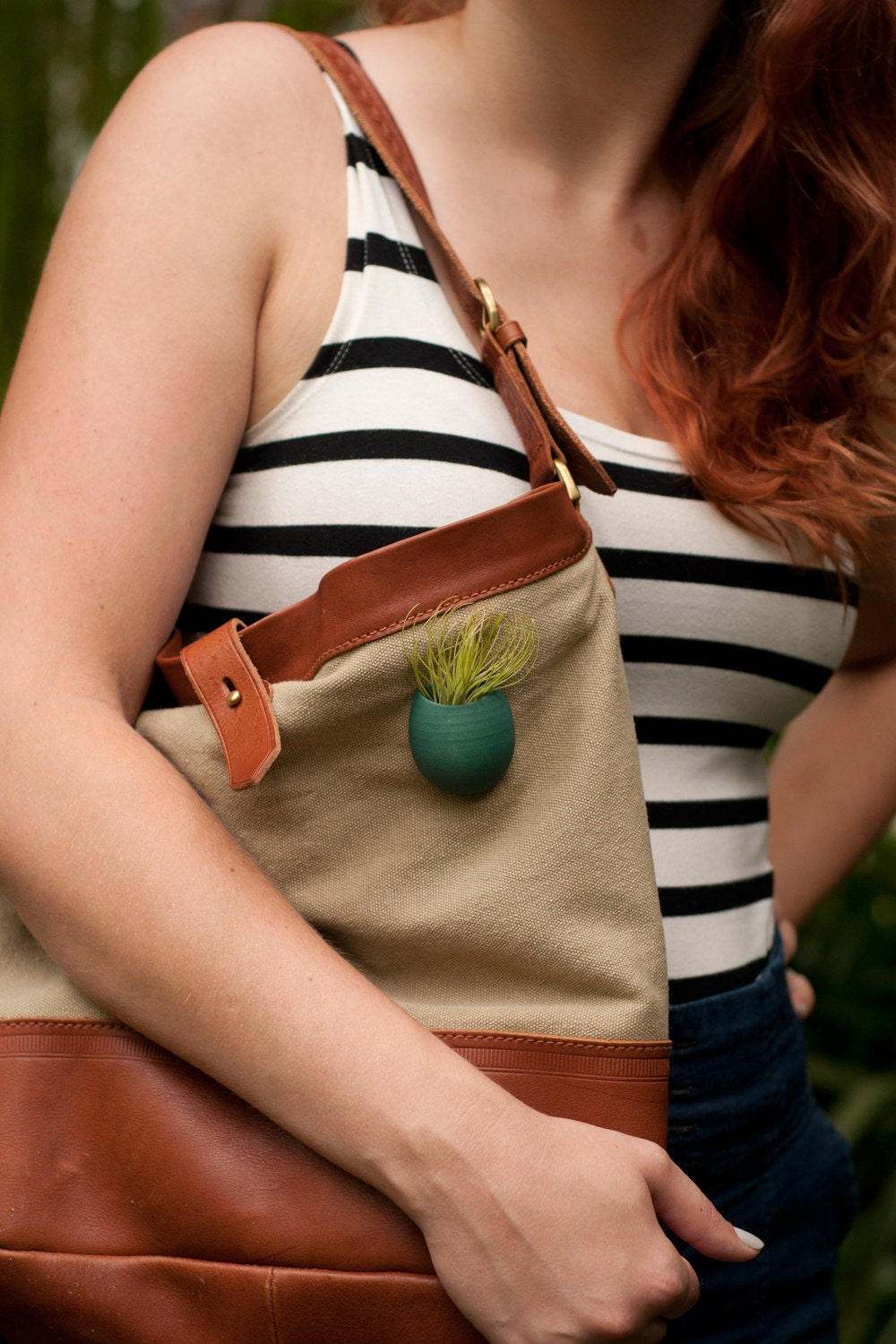 Tote Planter in Teal: A Wearable Planter, with Magnetic Back