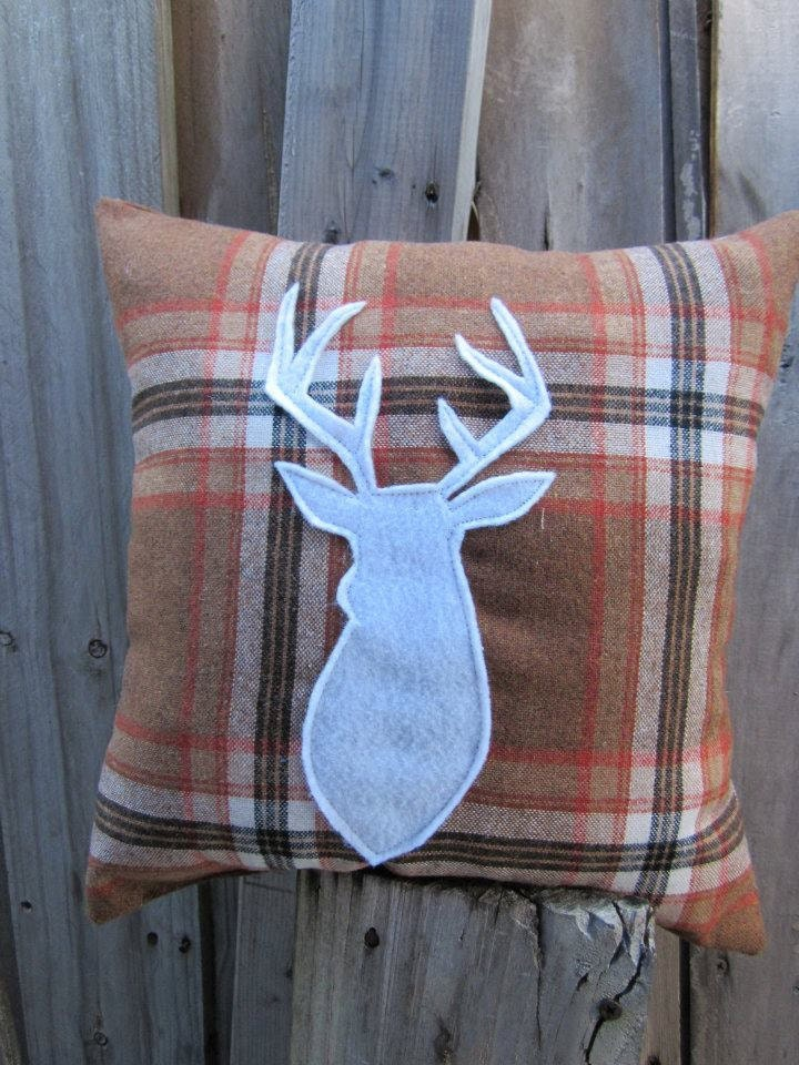 Holiday SALE Pillow in plaid with deer for your country home