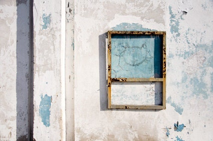 wall with cat photograph, architectual decor, white, gray, blue, 12x18 photo print, industrial photography, minimal home decor - bialakura