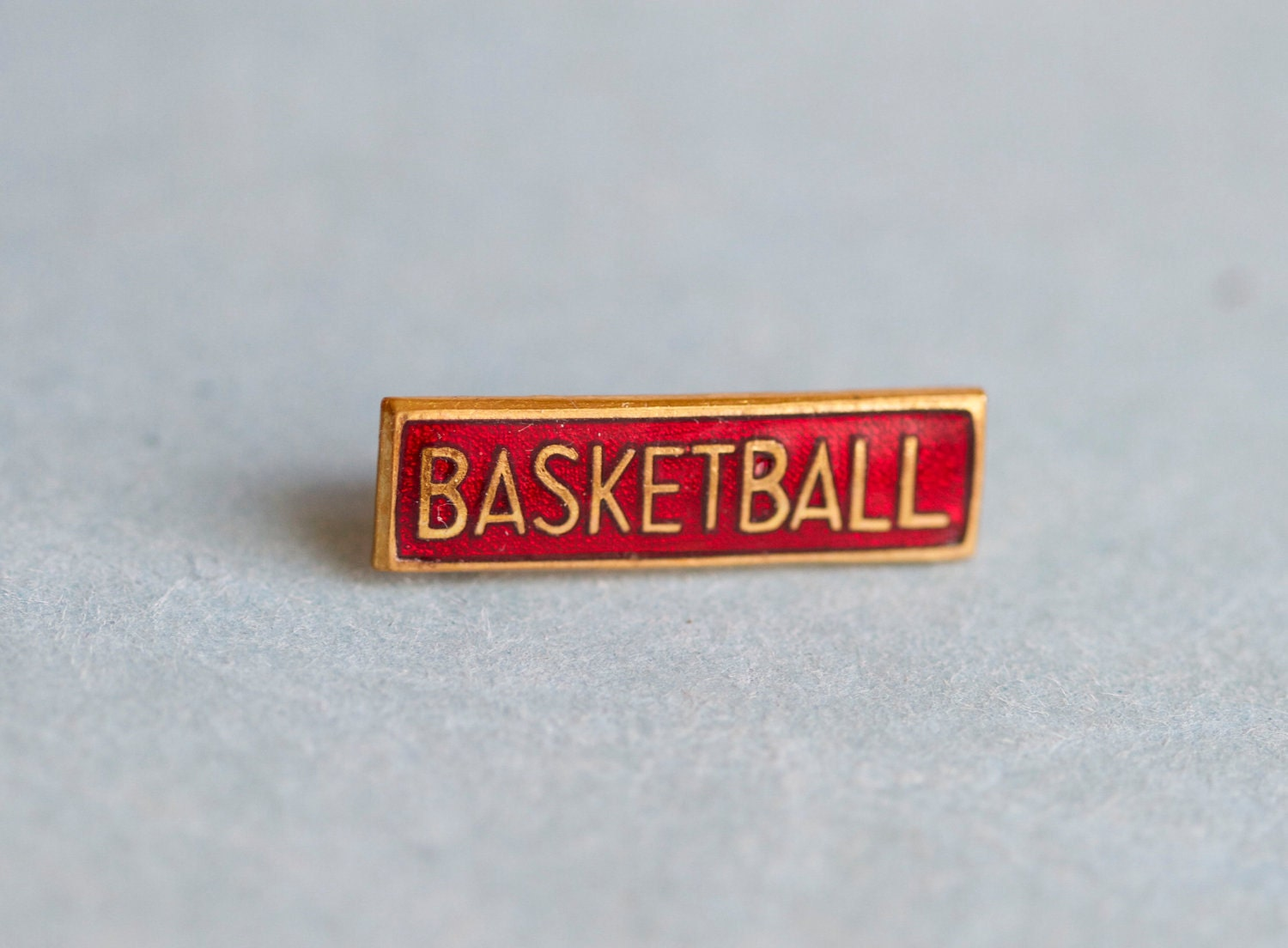 Basketball Badge - Antique Red Enamel and Brass pin Brooch