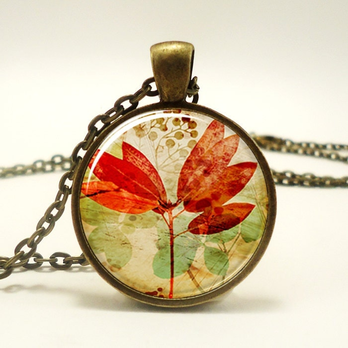 Autumn Leaf Necklace, Fall Leaves Forest Jewelry (1126B1IN) - rainnua