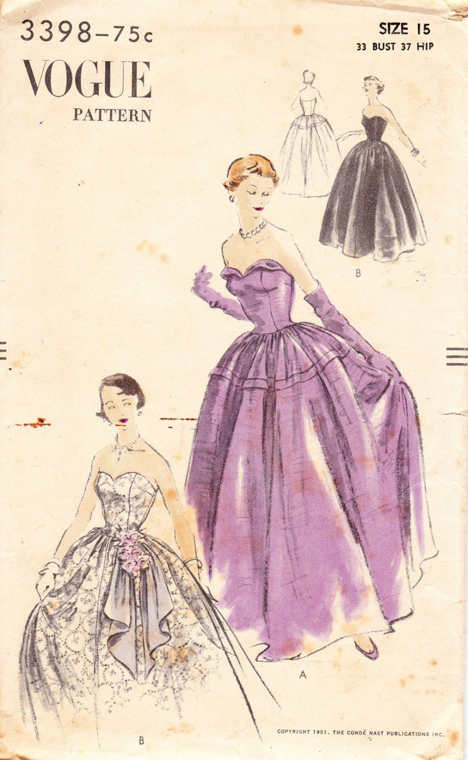 Vintage gown patterns free patterns for Wedding dress patterns vintage