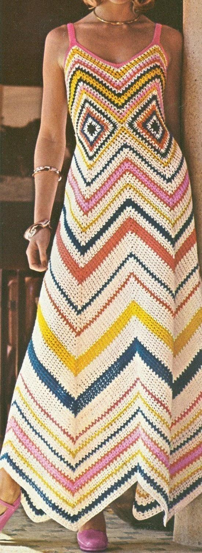 Vintage 1970 Crochet Chevron Maxi dom vestido padrão PDF 7402