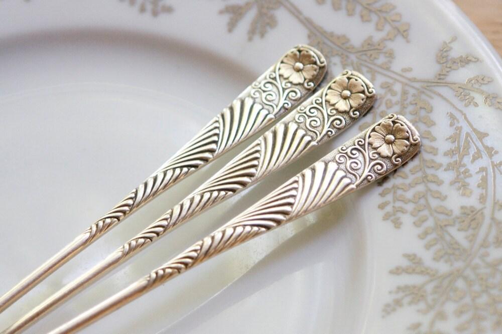 Silverware, Three Pretty Olive Forks