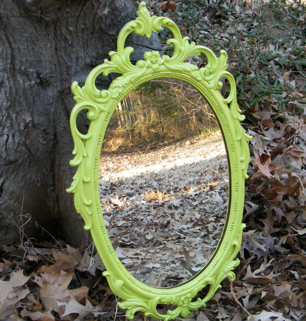 Vintage Wall Mirror Ornate Syroco Upcycled in Chartreuse - GloryBDesign