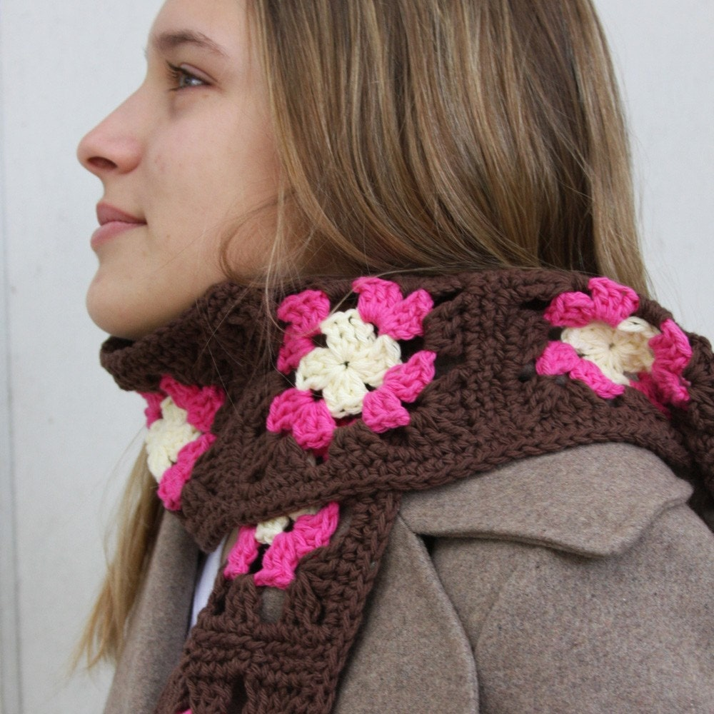 Valentine Cream, Pink, and Brown  Hot Granny Squares Scarf