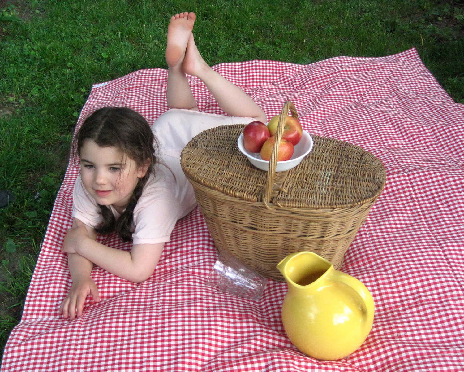 WATERPROOF Picnic Blanket Non-Toxic / Eco Friendly Retro Summer Beach Blanket in Red Gingham (Ready to Ship) - SewnNatural
