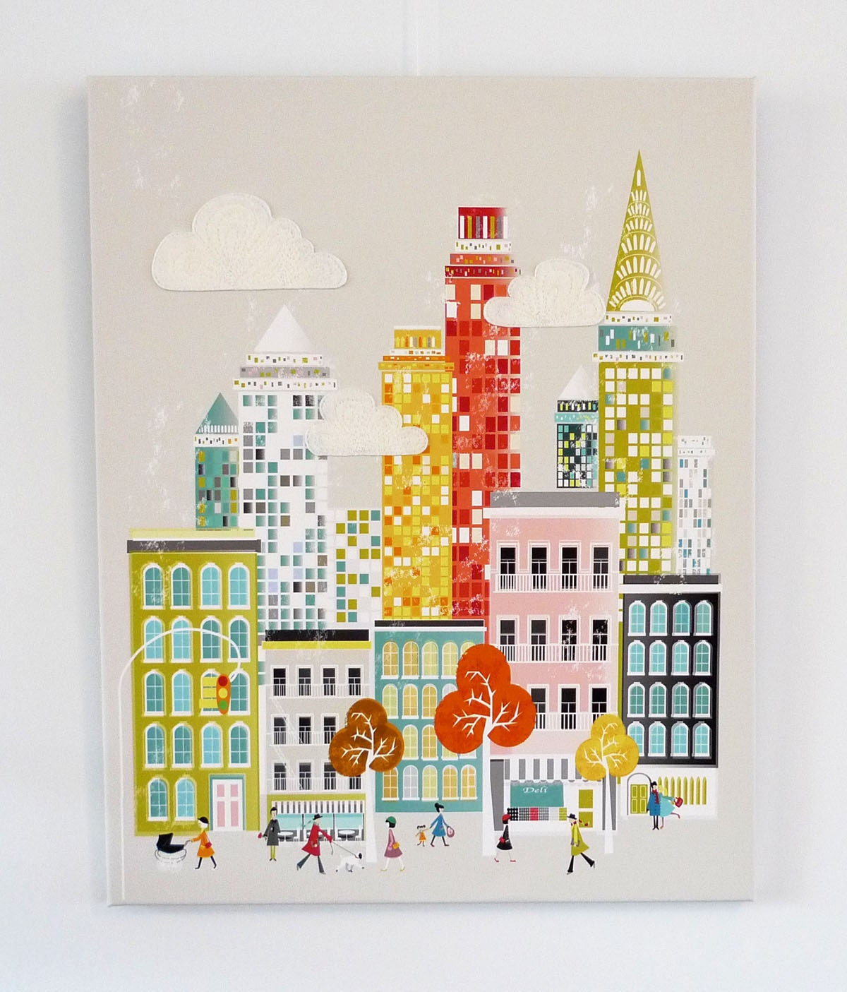 New York - Retro city Stitched Canvas Print - lauraamiss