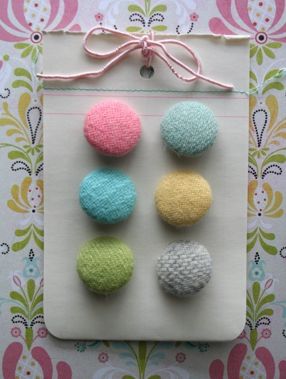 blossom...vintage wool covered button card