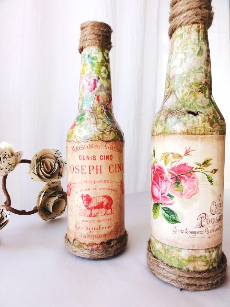 Элиз-Свадебный центр шт, французский ваза бутылка с Урожай Label, Деревенское, шикарный коттедж, идеально подходит для Души и Стороны