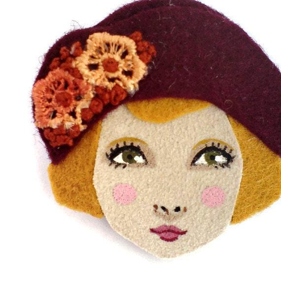 Felt brooch - Louise, 1920s Flapper, burgundy, gold, Autumn, woman face
