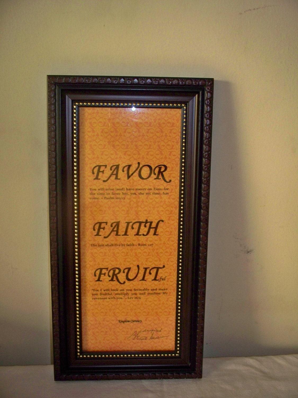 Inspirational Framed WORD Art / Favor, Faith, Fruitful