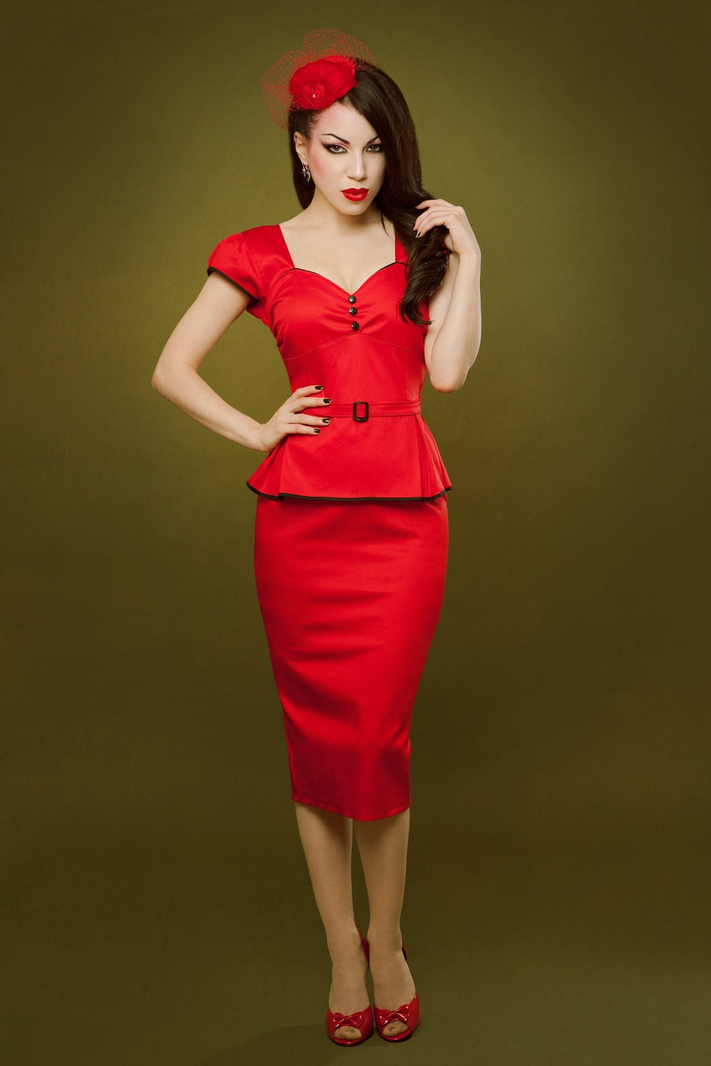 Pin up rockabilly red peplum dress by Hola Chica Clothing | Efinds2013