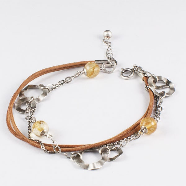 Sterling Silver Bracelet, Citrine Bracelet, Leather Bracelet, Stone Bracelet, Hand Hammered, Yellow Bracelet, Brown Bracelet, Chain Bracelet - silvergallerycomau