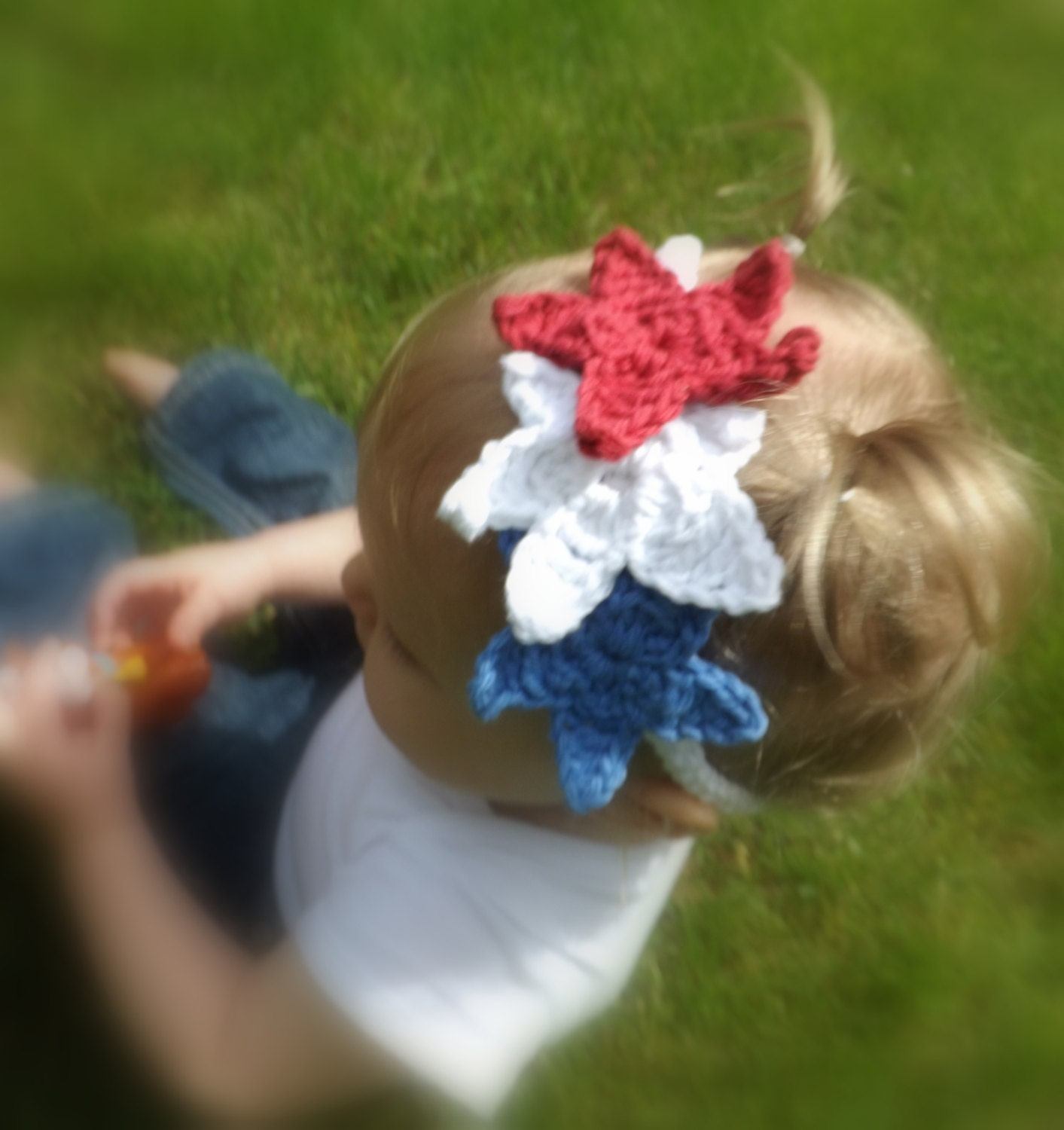 Red White and Blue Star Baby Headband - 4th of July Headband - AbigailsAttic112
