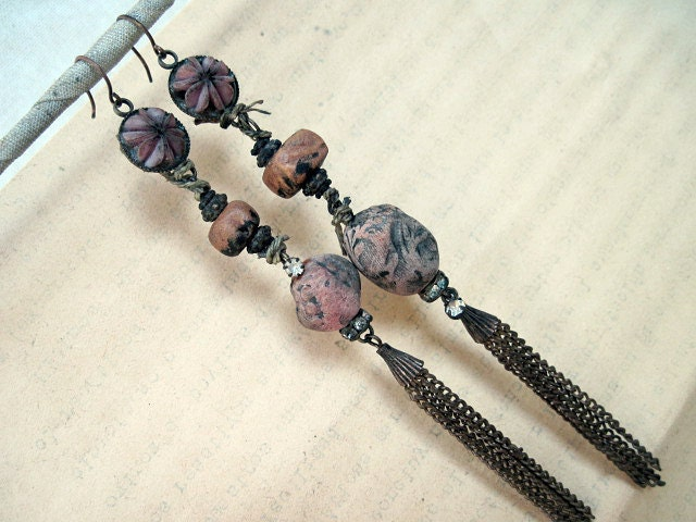 Rustic Assemblage Shoulder Duster Dangles with Polymer Art Beads.