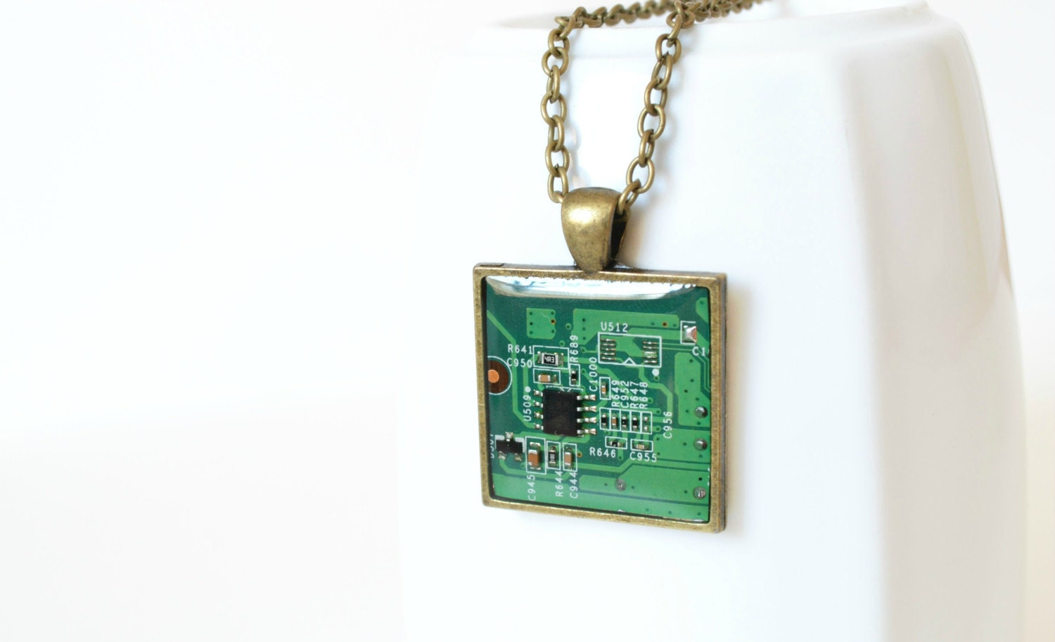 Nerdy Necklace - Green Necklace - Circuit Board Necklace - Computer Jewelry - Geekery Necklace - Upcycled Geometric Necklace - HardResols
