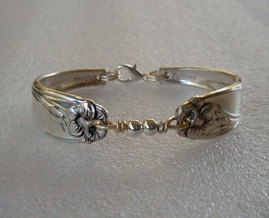 Spoon Bracelet Recycled Daffodil Sterling Silver  Beads Custom Sizing