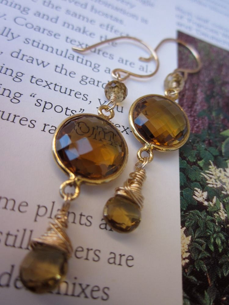 AAA Whiskey Quartz, AAA Beer Quartz, 14 Karat Gold Filled-Pure Honey Earrings