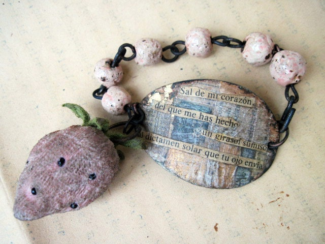 Out of my Heart. Rustic Pink Assemblage Bracelet Velvet Strawberry and Collage.