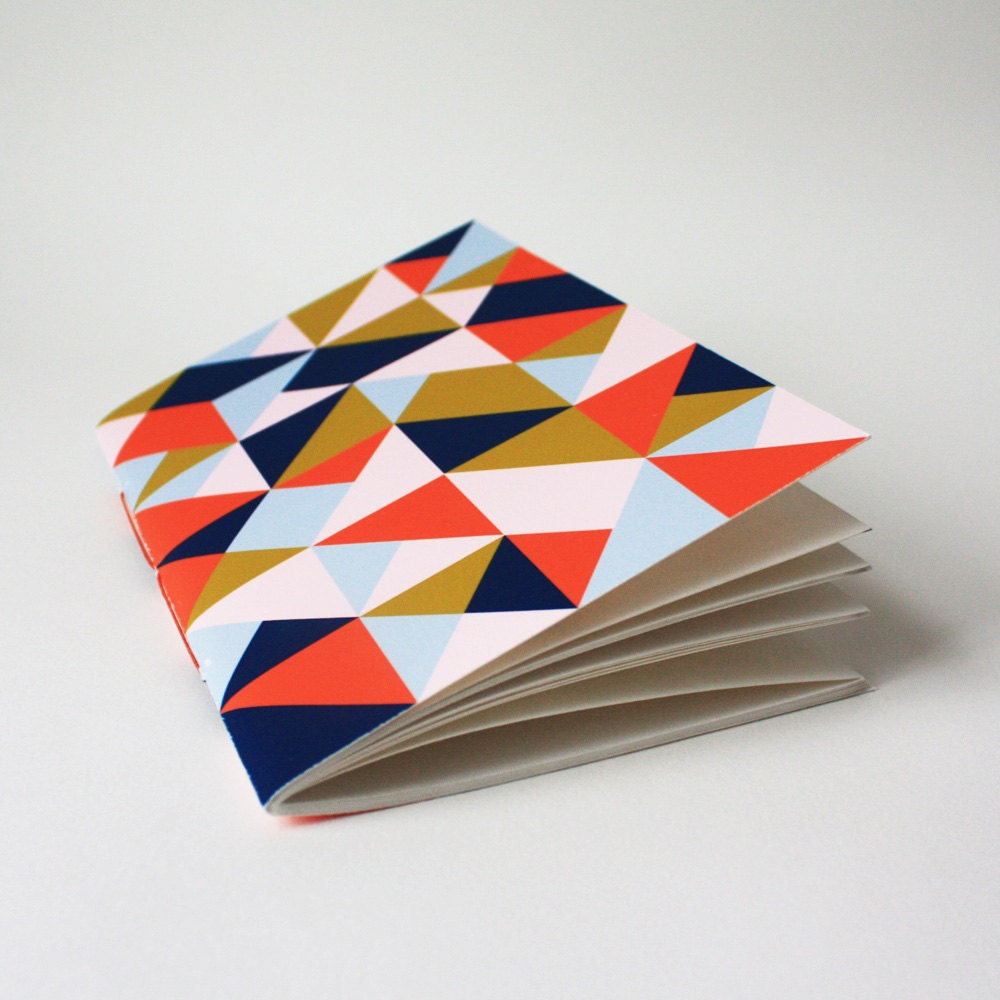 triangle jotter ... with navy, orange, and pink - paintedfishstudio