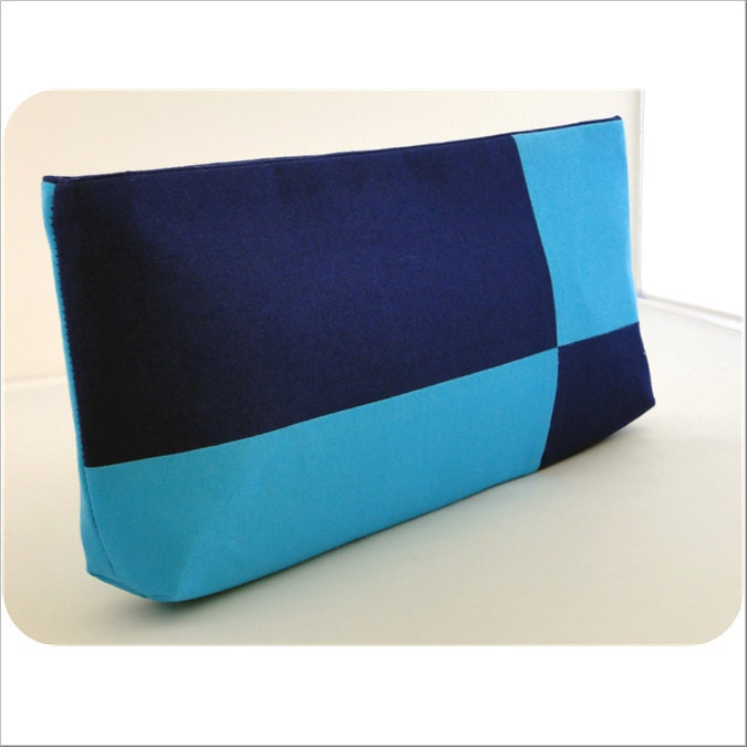 Bright Teal Turquoise Navy Blue Color Block Clutch Purse Gift