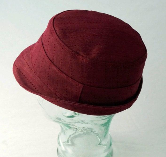 Mens Hat : Burgundy Pinstripe Denim Fedora - XL - The Henley