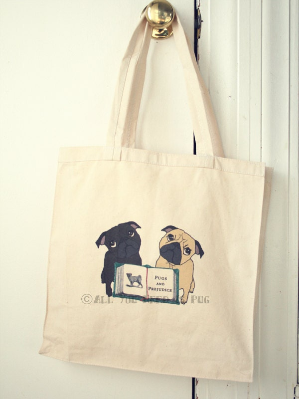 Pugs and Prejudice Tote Bag for Book Lovers