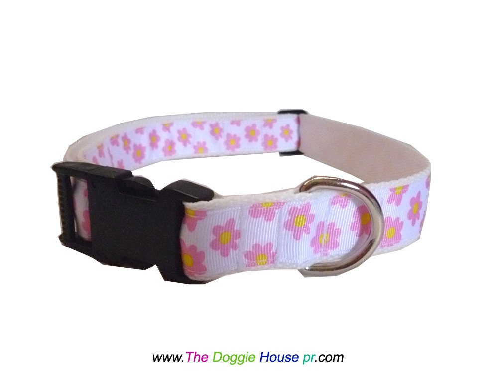 Dog Collar and Leash - Pink Floral - thedoggiehouse