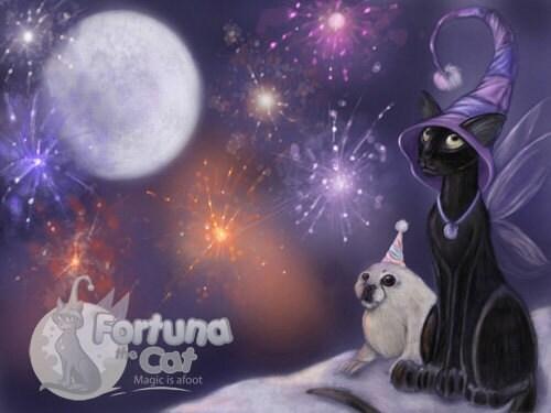 Winter New Year Holiday fantasy black cat art print